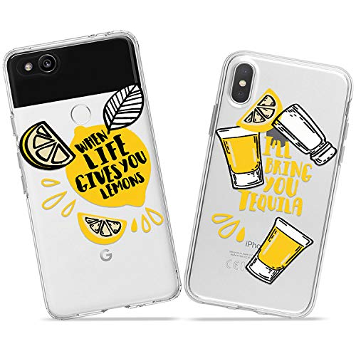 Wonder Wild Tequila Glass Couple Case iPhone Xs Max X Xr 10 8 Plus 7 6s 6 SE 5s 5 TPU Clear Gift Apple Phone Cover Print Protective Double Pack Silicone Alcohol Shots Matching Bartender Pair Cool