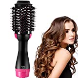 Chandelier Hot Air Brush, 2 in 1 Hair Straightener and Curling Iron,Multifunctional Negative Ion Hot Air Styler Comb Straightener, for All Hair Type-with Anti-Scald Feature