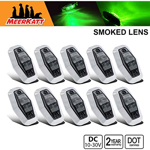 (Meerkatt (Pack of 10) 2.5 Inch Mini Smoked Lens Green Sealed LED Marker Identification Clearance Light Surface Mount Super Flux GMC Truck Trailer Lorry Boat Cabin Waterproof 10-30v DC Universal AA1030 )