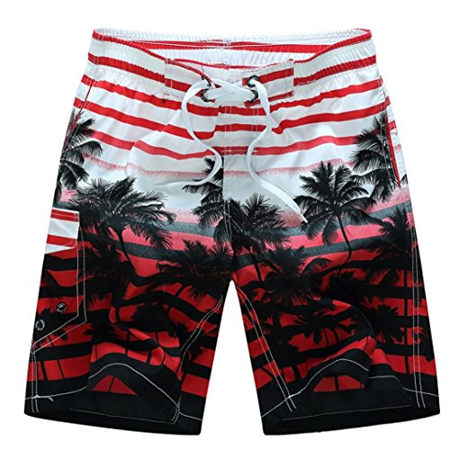 Zainafacai Fashion Coconut Printed Beach Pants-Men's Summer Beachwear Quick Dry Striped Board Shorts Plus Size (Red, M)