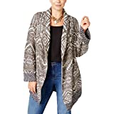Style & Co.. Womens Plus Patterned Open Front Duster Sweater Beige 1X