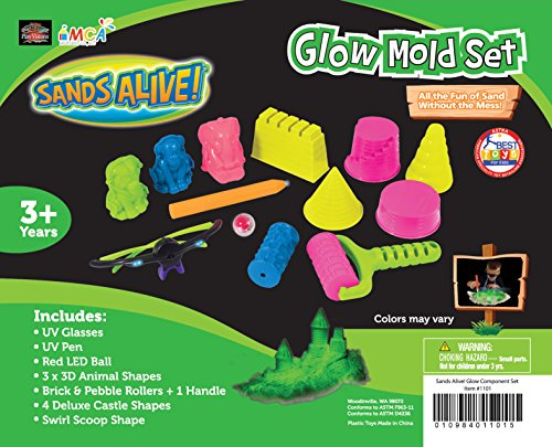 Play Sand Glow Mold Set (13pcs) - Use with Kinetic Sand, Sands Alive, Brookstone Sand and Other Molding Play Sand...