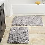 Lavish Home 2 Piece Memory Foam Shag Bath Mat -Grey