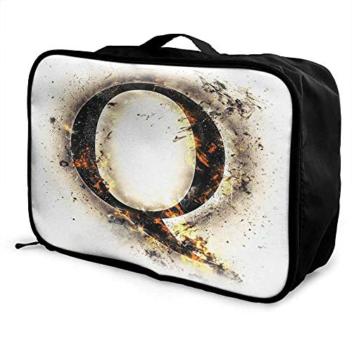 Letter Q Luggage trolley bag Words in Flames Gothic Style Influential Names Hazy Fire Featured Alphabet Waterproof Fashion Lightweight Tan Black Orange