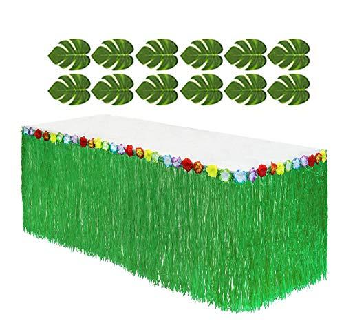 Adorox (12 Tropical leaves included) 1 Hawaiian Luau Hibiscus Green Table Skirt (9 -