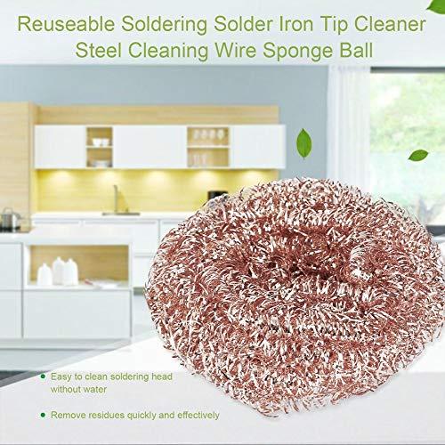 Reuseable Soldering Solder Iron Tip Cleaner Steel Cleaning Wire Sponge Ball