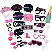 Elisona-30pcs Photo Booth Props Kit Photobooth Prop Card Funny Eyeglasses Mustache Bowknot for Hen Bachelor Party Holiday Wedding Birthday Party