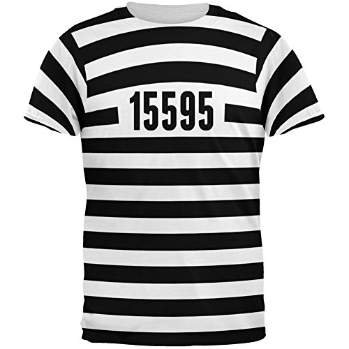 [Halloween Prisoner Old Time Striped Costume All Over Adult T-Shirt - Large] (Couples Costumes Funny)