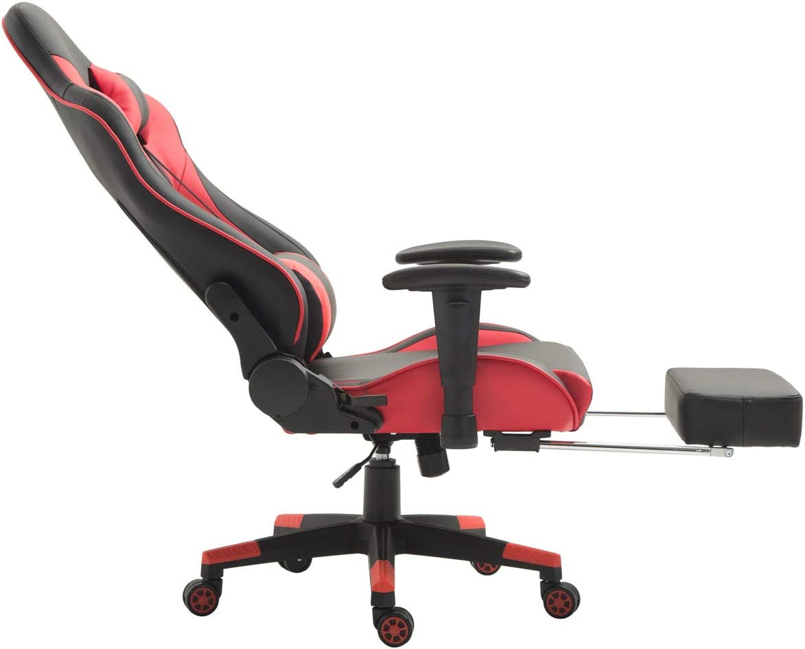 Ergonomic Gaming Chair PC Racing Computer Chair for Gamer with Footrest Red//Black