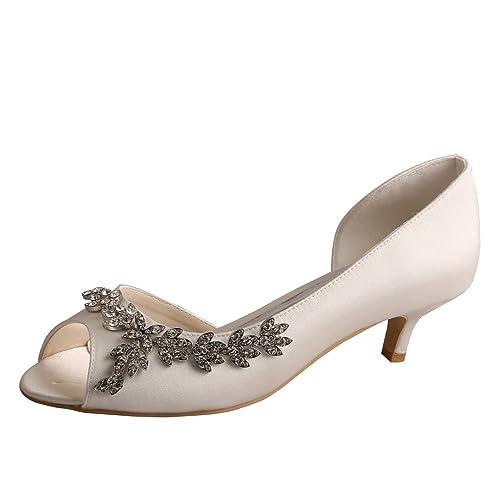 4bacbf2209f Wedopus Women Peep Toe Low Heel D'Orsay Rhinestones Satin Wedding Applique  Shoes
