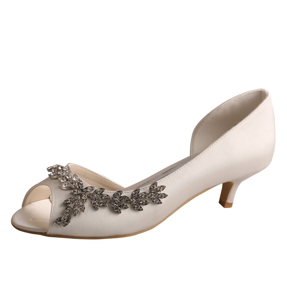 Wedopus Women Peep Toe Low Heel D'Orsay Rhinestones Satin Wedding Applique Shoes Size 11 Ivory