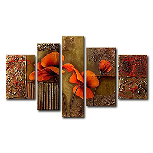 [FLY SPRAY 5-Piece 100% Hand-Painted Oil Paintings Panels Stretched Framed Ready Hang Yellow Elegant Beautiful Orange Flowers Buds Modern Abstract Canvas Living Room Bedroom Office Wall Art Home] (Famous People With Glasses)