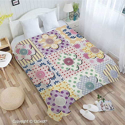 (Luxury Flannel Blanket,Arts and Crafts Theme Handiwork Quilting Stitches Daisy Motifs Sew Image Print Decorative,Perfect for Camping,Picnic & the Beach with a Waterproof(72.83