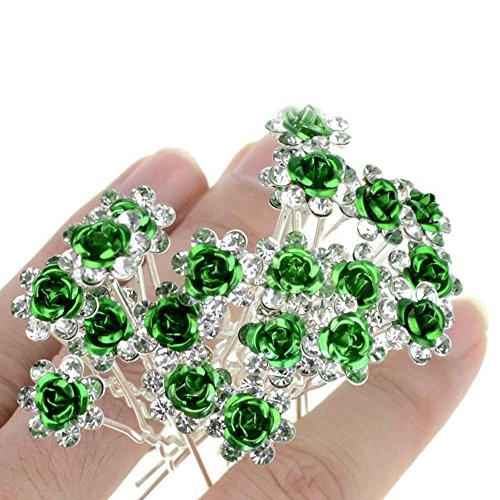Unicra Wedding Hair Pins for Women Decorative Bridal Wedding Hair Accessories for Brides and Bridesmaids Pack of 20 (Green)