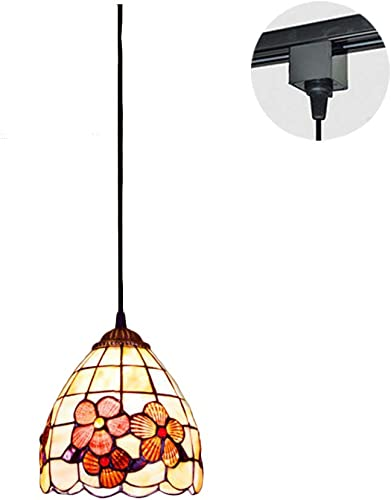 ANYE Tiffany Style H-Type 7.1 Mini Pendant Light 3.2ft Wire E26 Lovely Flower Art Glass Shade Pearl Shell 1-Light Crystal Ewha Track Light Cute GD-TB0856