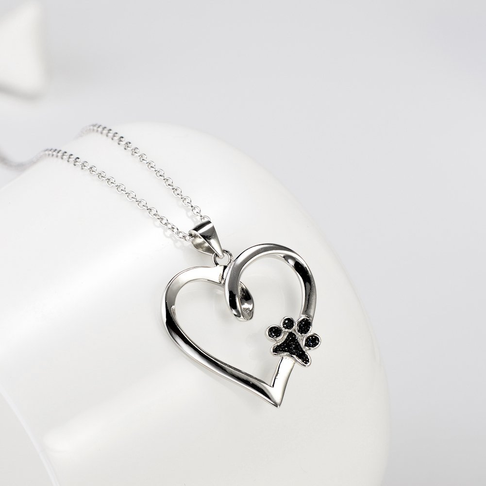 925 Sterling Silver Forever Love Heart Puppy Paw Pendant Necklace, Rolo Chain 18'' by SILVER MOUNTAIN (Image #2)