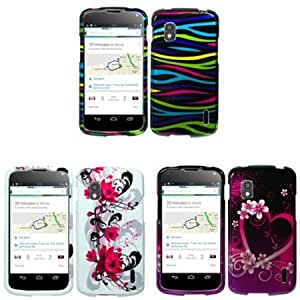 Bloutina iFase Brand LG Nexus 4 E960 Combo Red Flower on White Protective Case Faceplate Cover + Purple Love Protective...
