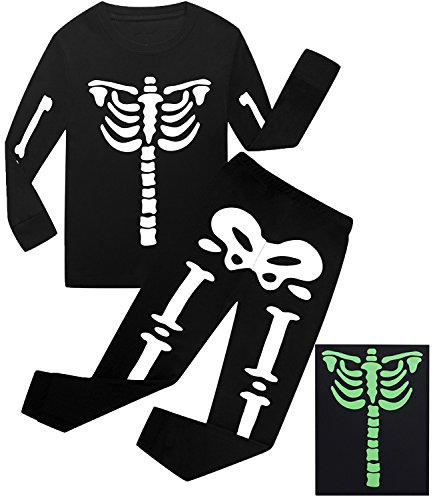 Dolphin&Fish Boys Halloween Pajamas Skeleton Glow-in-The-Dark Toddler Pjs Sleepwear Kids Clothes Size (Glow Skeleton)