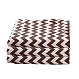 bkb Daycare 6 Piece Chevron Fitted Crib and Toddler Sheets, Brown