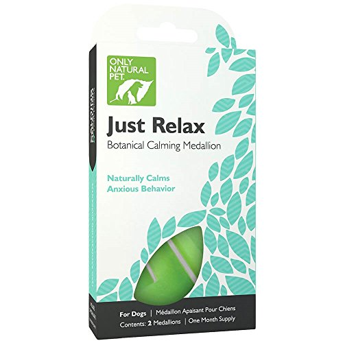 Only Natural Pet Just Relax Botanical Calming Collar Medallion for Dogs, Anxiety Relief/Calming with Essential Oils - Each Box Contains 2 Medallions (1 Month ()