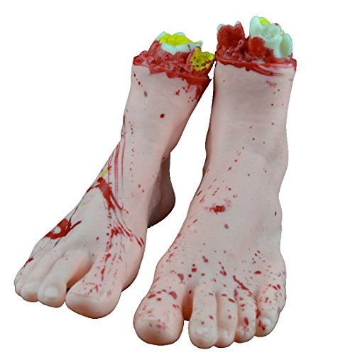YUFENG Halloween Party Props Decoration Supplies Terrorist Decoration Human Broken Hand Legs foot Fingers Body Parts For April Fool's Day (two broken foot)