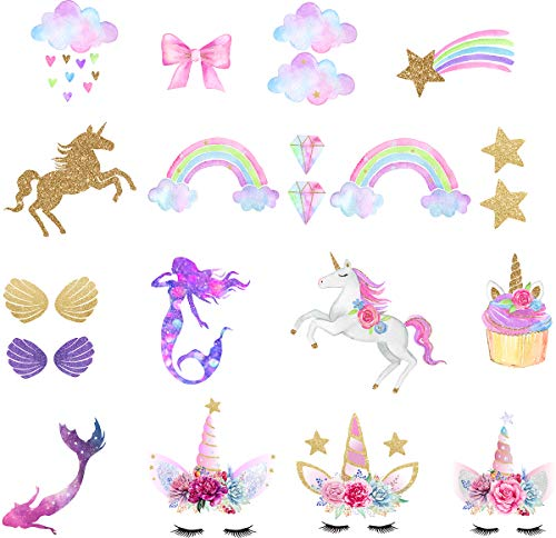 Unicorn Iron-On Transfer Iron Patches Rainbow Iron On Patches Mermaid Patches Eco-Friendly Material Set of 21 for DIY Decorative