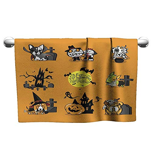 Kid Towels Halloween Puppy Dressed as a Ghost Absorbent Towel Baby Towels 14 x 14 Inch -