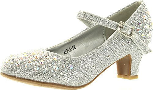 Apple Kids Sliver Sparkling Mary Jane Rhinestone Glitter Formal Dress Low Heel Pumps, Silver, 9 M US Toddler -