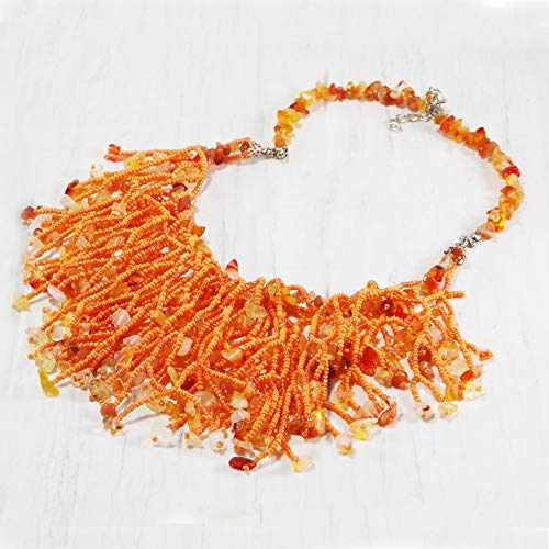 - Branch Orange red necklace handmade carnelian Seed beads coral large unique Nature fairy inspired gift for women Bohemian Wedding enchanting beaded