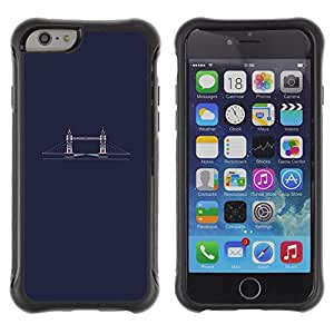 WAWU Funda Carcasa Bumper con Absorci??e Impactos y Anti-Ara??s Espalda Slim Rugged Armor -- London bridge minimalist blue dark -- Apple Iphone 6 PLUS 5.5