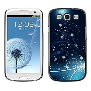 YOYO Slim PC / Aluminium Case Cover Armor Shell Portection //Christmas Holiday Blue Tree Stars 1229 //Samsung Galaxy S3