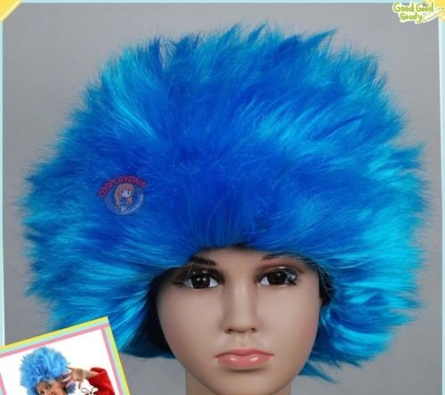 BLISS PROs Thing 1 Thing 2 ADULT SIZED Dr Suess Suss Sues Wig Aqua STRAIGHT Wig