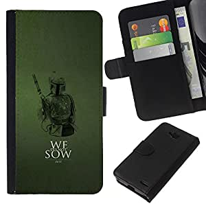 LECELL--Cuero de la tarjeta la carpeta del tirón Smartphone Slots Protección Holder For LG OPTIMUS L90 -- No sembramos --
