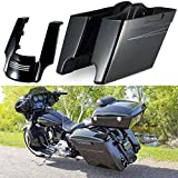 Vivid/Glossy Black 4 1/2 INCH Extended Bags Medium Silver Pinstripe Stretched Saddlebags and Fender Extension For 2014 2015 2016 2017 2018 Harley Davidson Road Glide Special Street Glide Special