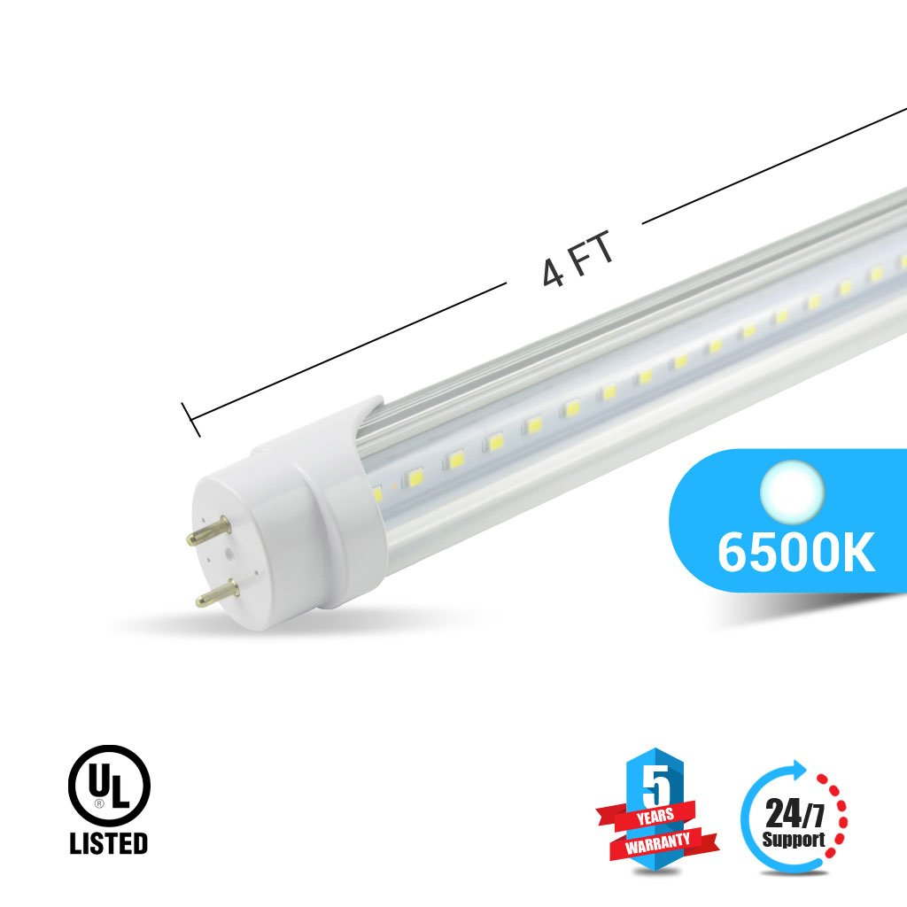 Ballast Compatible T8 4ft Led Tube 20w 3000 Lumens 6500k 4 Bulb Fluorescent Fixture Wiring Diagram Clear Cover 25pcs Home Improvement
