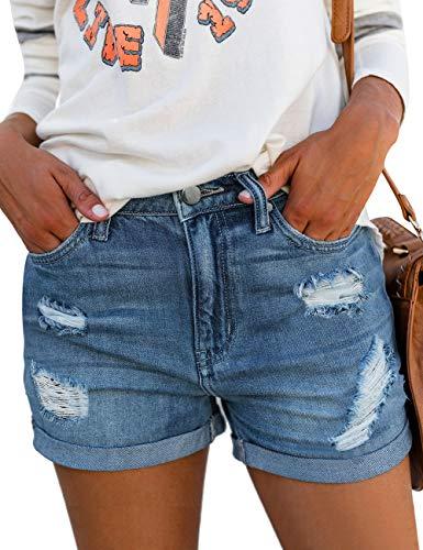luvamia Women's Ripped Denim Jean Shorts Mid Rise Stretchy Folded Hem Short Jeans Size Medium