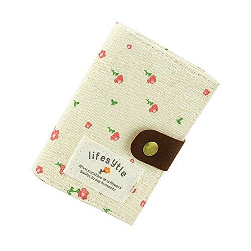 Natural Home Segeltuch Blumen Kreditkarte Tasche mit 20 Klarsichtfächern (Beige)