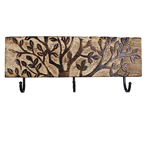 Wooden Wall Hook with 3 Metal Pegs Rectangle Wall Mounted Key Clothes Hook Holder Handmade Floral Carvings