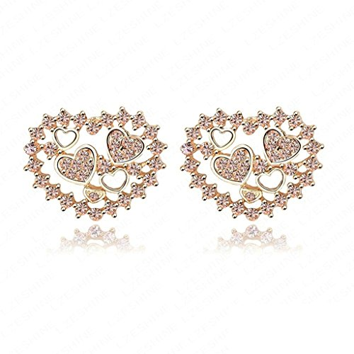 18K Gold Plated Womens Girls Earrings Heart Champagne - Aooaz Jewelry