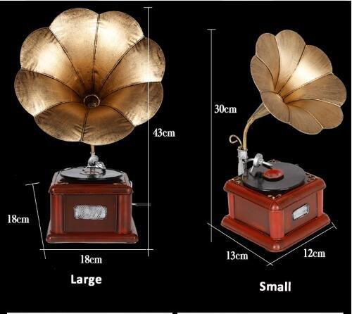 Metal Retro Phonograph Model Vintage Record Player Prop Antique Gramophone Model Home Office Club Bar Decor Ornaments ( Size : L h43cm )