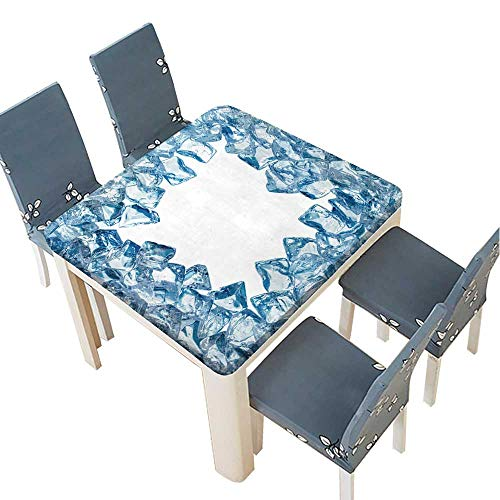 (PINAFORE Polyester Tablecloth Ice Cool Frame with Water Drops,Isolated White Background Spillproof Tablecloth 61 x 61 INCH (Elastic)