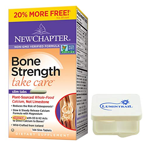 New Chapter Bone Strength Take Care, Calcium Supplement - 144 Slim Tabs Bundle with a Lumintrail Pill Case