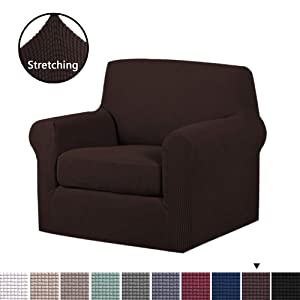 H.VERSAILTEX 2-Pieces Skid Resistance Sofa Cover Furniture Protector Jacquard Spandex Couch Covers, Fitted Sofa Protector Stretch Knitted Jacquard Sofa Slipcovers-Brown, Chair(1 Seater)