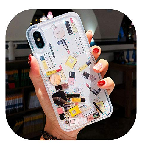 - Cosmetic Quicksand Cover Case for iPhone 6S 7 8 Plus XS Max XR Hard Lipstick Perfume Bottle Dynamic Liquid Capa Phone case ipone,Sliver,for iPhone X