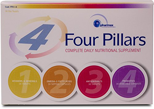 Pharmax – Four Pillars – Complete Daily Nutritional Supplement with Vitamins, Minerals, Antioxidants, Probiotics and Omega-3 Fatty Acids – 30 Day Supply For Sale