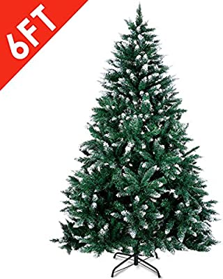 6ft 7ft White Christmas Tree Snowy Artificial Traditional Xmas Trees Thick