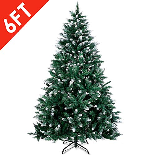 Amzdeal Christmas Tree, Artificial Christmas Tree with Snow Tips Sturdy Metal Stand Easy Assembly Fir Xmas Tree (6ft) (Trees Chrisrmas)