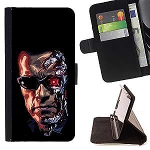 For LG G3,S-type Divertido Trminator Scwarznegger Robot- Dibujo PU billetera de cuero Funda Case Caso de la piel de la bolsa protectora