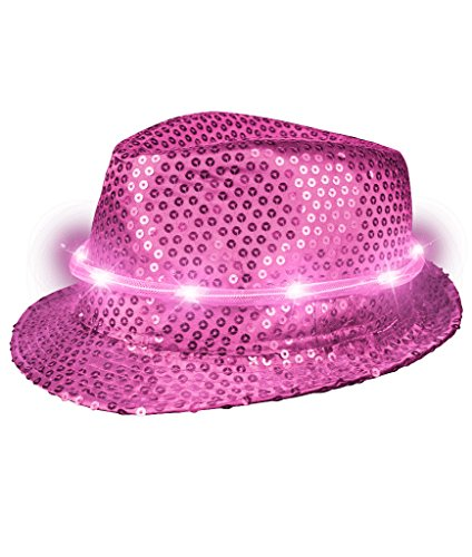 Fun Central T480 LED Light Up Sequin Fedora - Hot (Pink Sequin Hat)