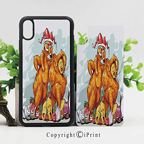 - Phone Case Protective Design Christmas Roasted Turkey Buddies Celebration Characters Xmas Holiday Theme Decorative Durable Hard PC Back Phone Cover Compatible for iPhone X,Seafoam Dark Orange
